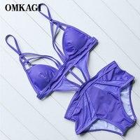 OMKAGI Brand One Piece Sexy Push Up Swimsuit Swimwear Women Swimming Bathing Suit Summer Beachwear Monokini