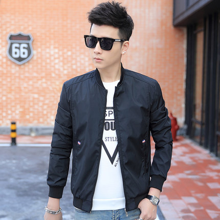 2017 New Spring Autumn Men Jacket Black Slim Bomber Jacket Men ...