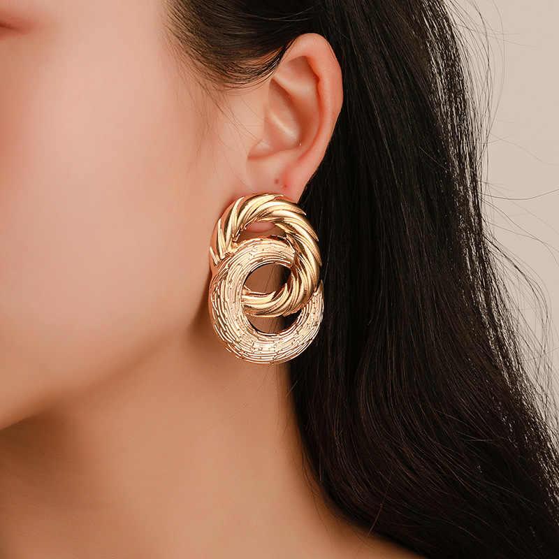 Modyle bản lớn Bông tai nữ tuyên bố Bông tai hình học màu vàng kim loại Bông Tai Giọt xu hướng trang sức thời trang
