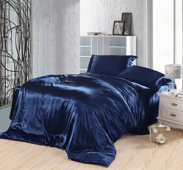 Merveilleux Dark Blue Bedding Set Silk Satin Super King Size Queen Double Fitted Bed  Sheets Duvet Cover