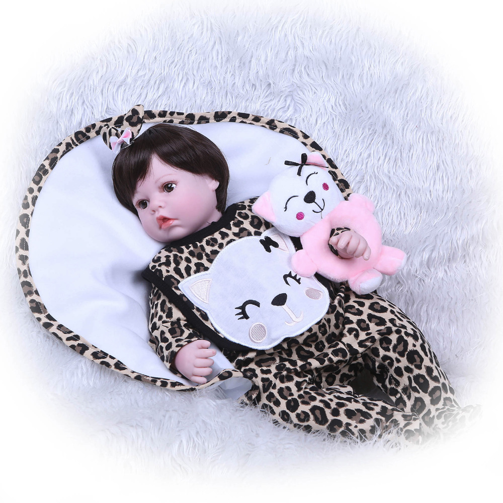 Nicery 20 22 pouces 50 55 cm Bebe Reborn poupée souple Silicone garçon fille jouet Reborn bébé poupée cadeau pour enfants rose chat poupée - 2