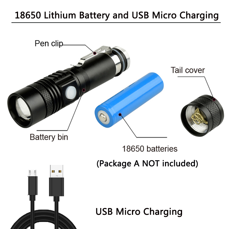 Купить с кэшбэком Super Bright Led flashlight USB linterna led torch T6/L2/V6 Power Tips Zoomable Bicycle Light 18650 Rechargeable z50