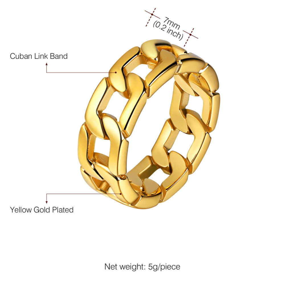 Kpopสแตนเลสโซ่คิวบาแหวนทอง/เงิน/สีดำสีผู้ชายเครื่องประดับหมั้นแหวนแต่งงานสำหรับผู้ชายขนาด7-12 GR977