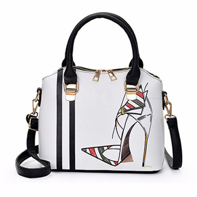 4a19012c93a4 Women Bag Female Handbags Leather Messenger Shoulder Bag Crossbody New Brand  2018 Printing Handbag Tote Fashion Girl Zipper Bags