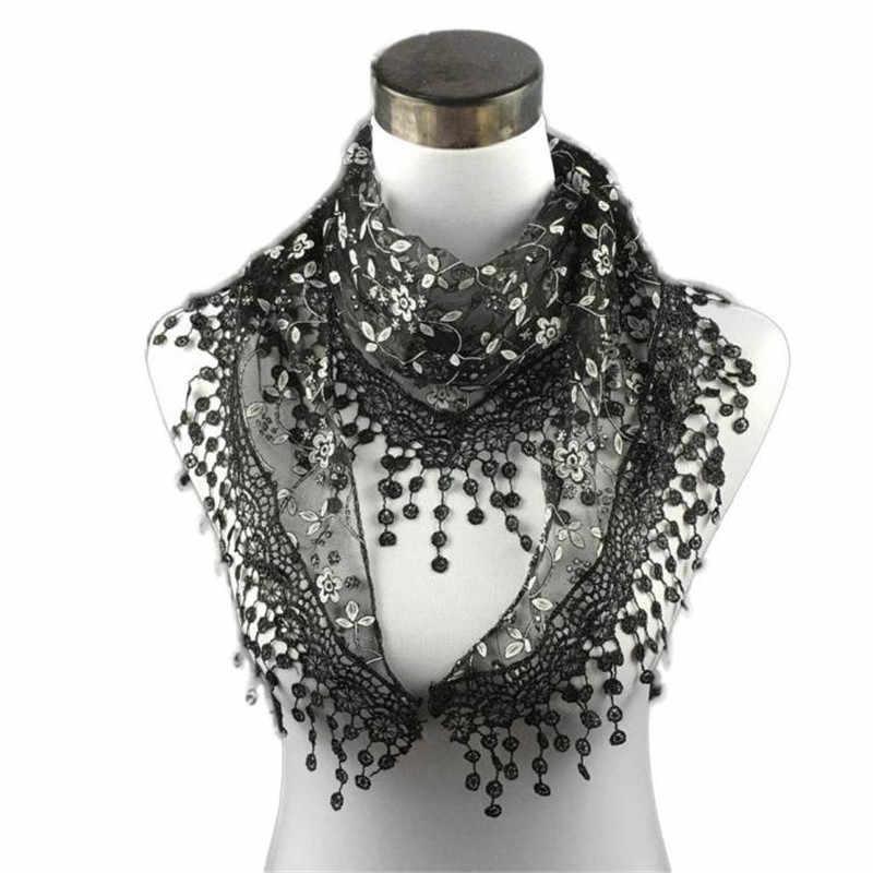 KANCOOLD bufanda nueva Alta Calidad encaje borla pura impresión Floral triángulo Mantilla chal bufanda marca de lujo