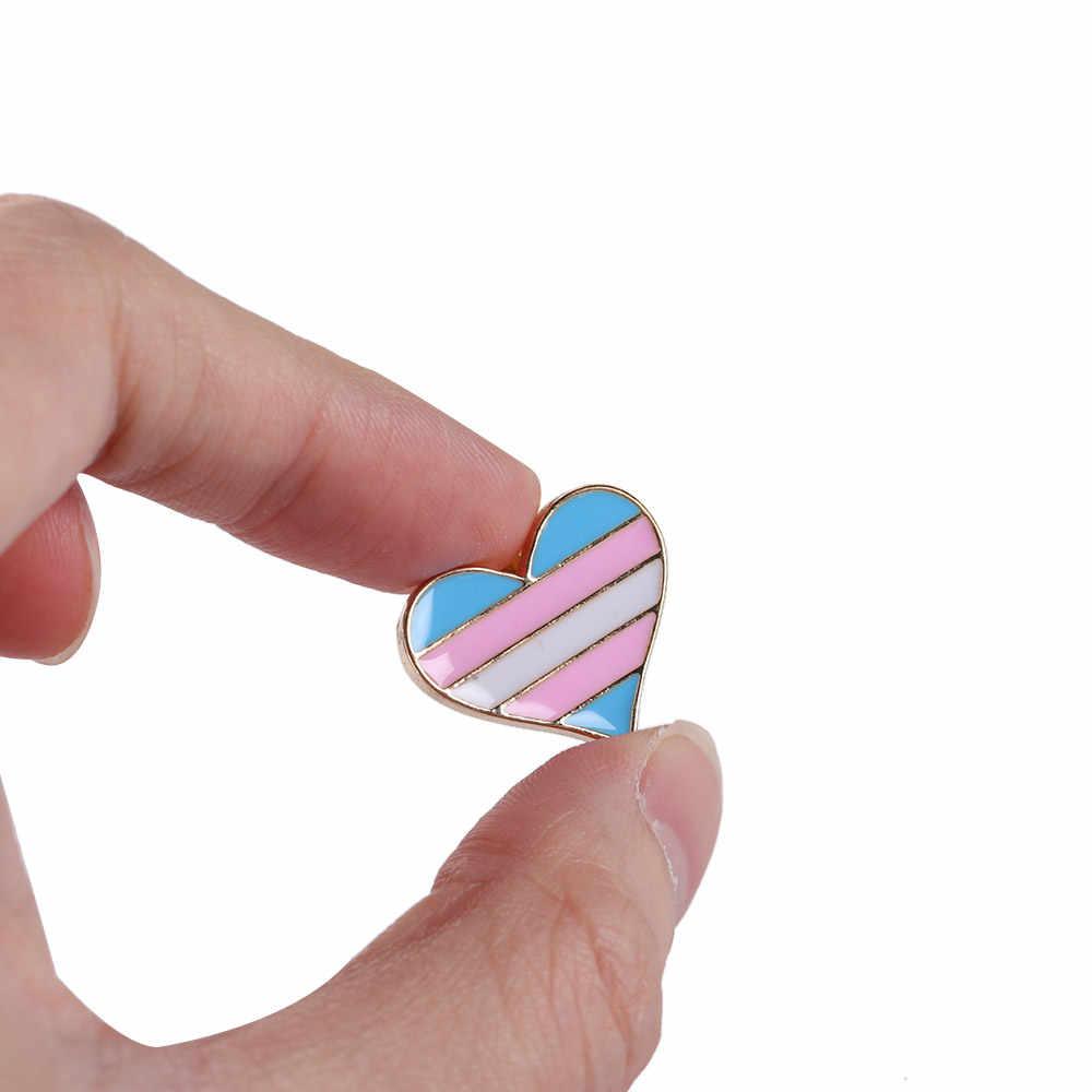 1/2Pcs Unisex Kerah Pin Perhiasan Rainbow Jantung Enamel Gay Lencana Kerah Denim Topi Bros Pria wanita