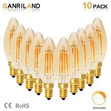 GANRILAND C35 4W светодиодный светильник E14 220V теплый 2200K Янтарный оттенок Свеча лампа ретро Светодиодный светильник накаливания с регулируемой яркостью декоративный светильник для дома