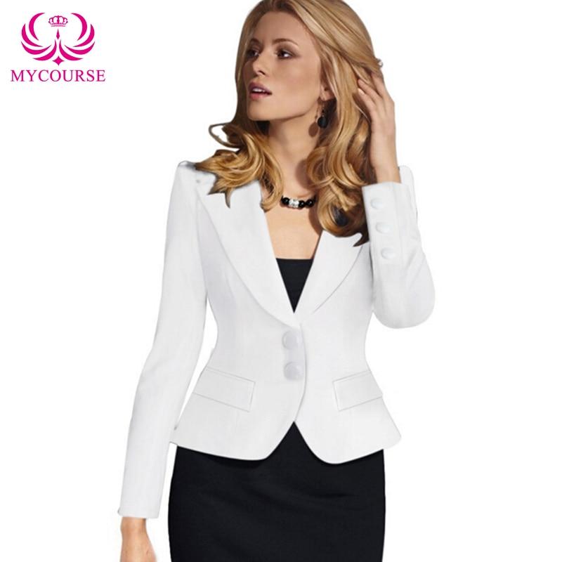 2016 MYCOURSE European Style New Womens Color Blazer Jacket Suit Work Casual Basic Long Sleeve Short Blazer Solid Color Slim