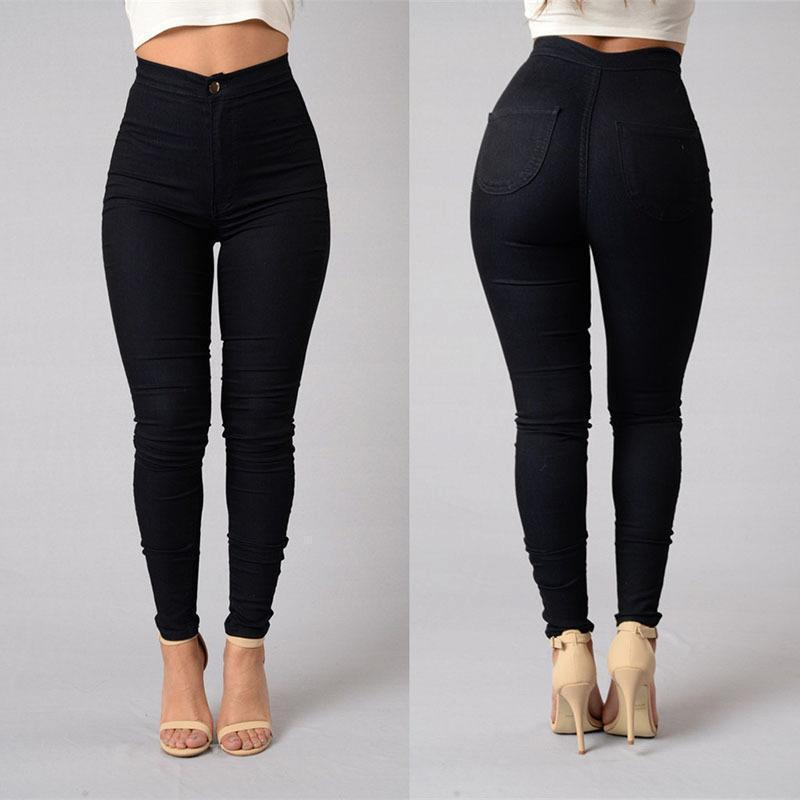 2017 HOT SALE Women Denim Skinny Jeggings Pants High Waist Stretch Jeans Slim Pencil Trousers smart home us black 1 gang touch switch screen wireless remote control wall light touch switch control with crystal glass panel