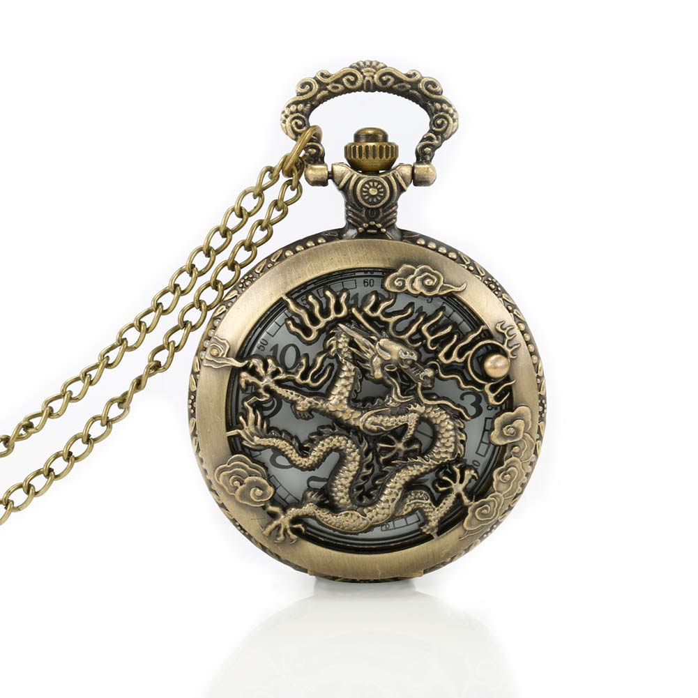 Vintage Hollow Zodiac 12 Pocket Watc Quartz Watch Clock Hour Fob With Chain Pendant for Women Men Gifts LXH long yi painted red lacquer carving pendant with rich fish car hongfu snake zodiac mascot 2000599 years