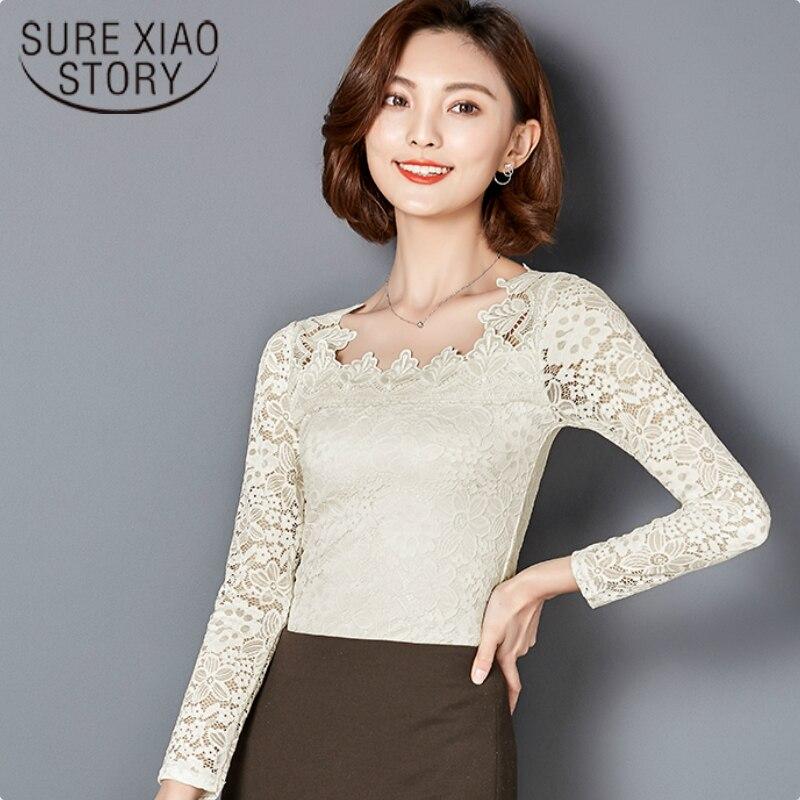 2017 nueva primavera moda Mujer Blusas Camisa Del Cordón Del O-cuello de Manga L