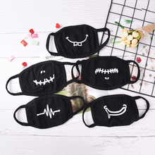 1PC Unisex Cartoon Funny facial expression Mouth Black Cotton Half Face Mask 2018 New Arrival