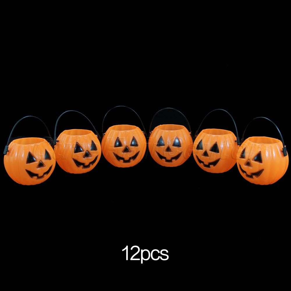 wholesale 12pcs halloween bar decoration vintage pumpkin jack o lantern light goodie bucke party supplies
