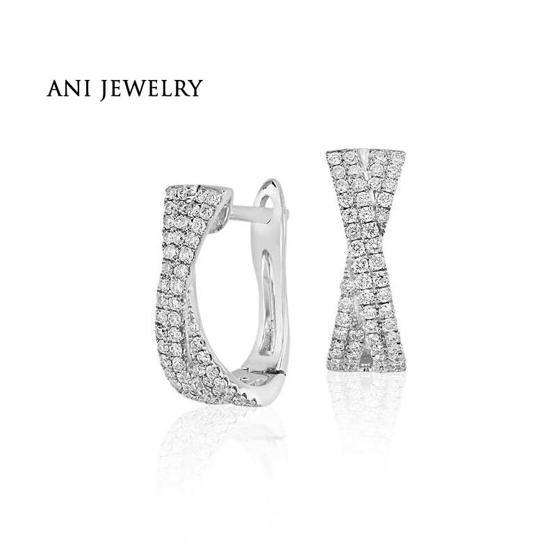 ANI 14k White Gold Women Circle Earrings 0.46 ct Certified I/S1 Diamond Cross Small Hoop Earrings for Birthday Anniversary Gift