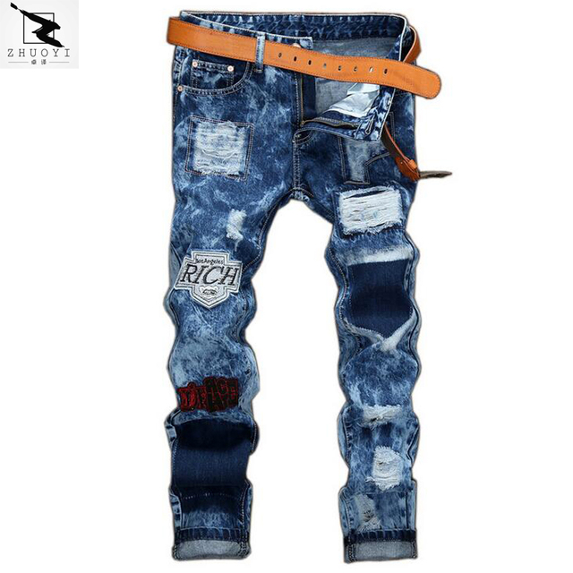 jeans men high quality 2017 men's jeans hole Casual ripped jeans men hiphop pants Straight jeans for men denim trousers