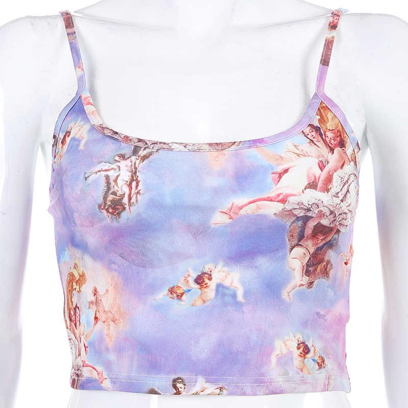 Weekeep, укороченная майка с принтом ангела, женская сексуальная уличная одежда, Feminino Befree, укороченный топ, 2019, летняя мода, камзол, топы с бюстгальтером без косточек