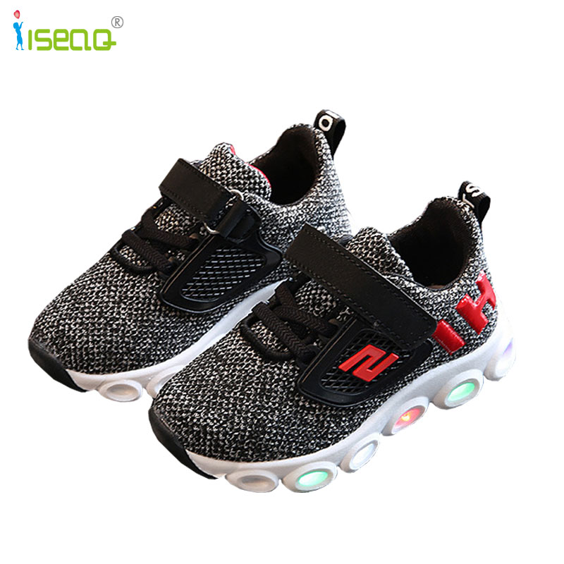 Children boys and girls glowing Sneakers Kids Sports Shoes with luminous Casual Boots for Spring Autumn Rubber Button EUR 21-30
