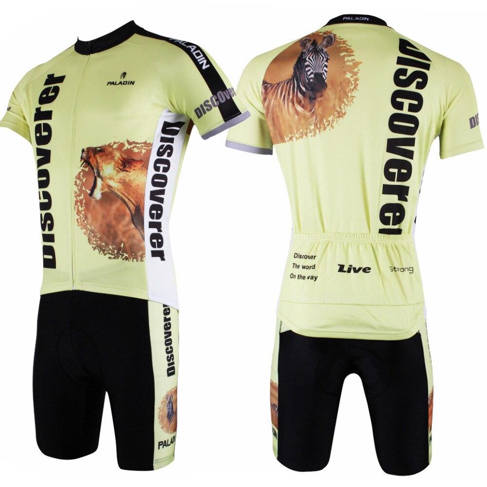 Objevte svět na cestě Pánské cyklistické dresy s krátkým rukávem Žlutý Ciclismo Ropa 2016 Raring Lion and Zebra Cycling Clothing