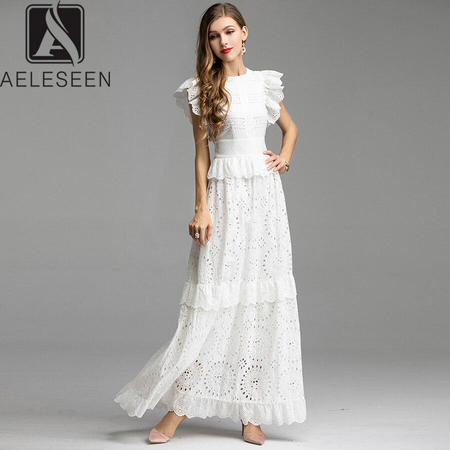 AELESEEN długa biała sukienka 2019 mody, eleganckie i luksusowe potargane rękawem haft koronki up Slim Party luksusowe sukienka w dużym rozmiarze kobiet w Suknie od Odzież damska na  Grupa 1