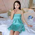 2017 New Imitation Chemise De Nuit Soie Split The Fork Nachtkleding Sling Miniskirt Summer Silk Nightgown Sexy Homewear Women