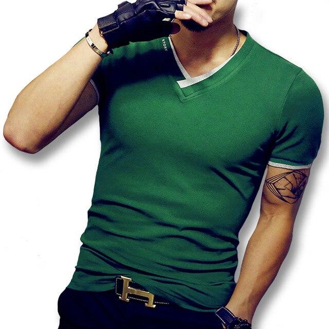 Лучшая цена, лучшее качество, хлопковая футболка, Мужская модная однотонная тонкая футболка, Мужская футболка с коротким рукавом, футболки, мужские футболки