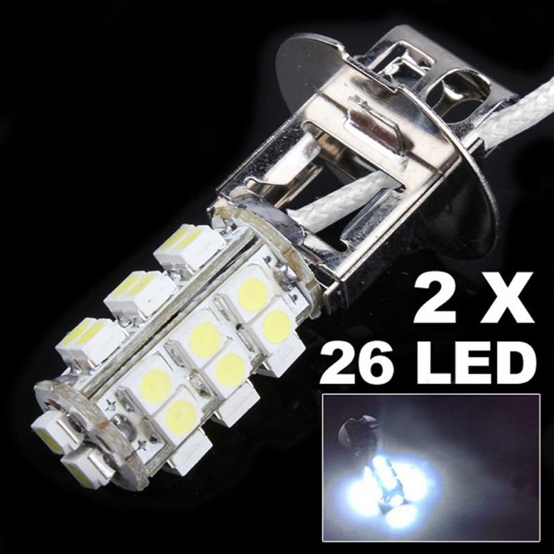 Do Promotion! 2Pcs/lot 12V 3W H3 26-SMD LED Cold White Car Fog Head Light Lamp Bulb merdia h8 18 smd 5050 led 3w 110lm 10000k blue light car foglight 12v 2pcs