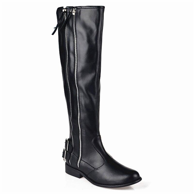 Perfetto black Suede Mantener Cuero Invierno Flat plush Alta Negro De Mujer Black In Knight 2018 Vaca Botas Real Calidad Moda Prova Caliente dHwqpCOd