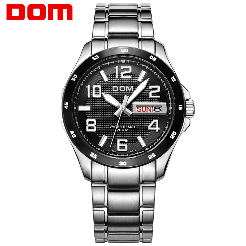 2016 DOM TOP brand Man Watch Waterproof Auto Date WristWatch Fashion Stainless Steel Business Watches For Man Relogio Masculino