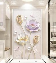 3d Floral Wall Mural Hallway Photo Wall Paper for Living Room papel pintado pared rollos papel de parede wall papers home decor