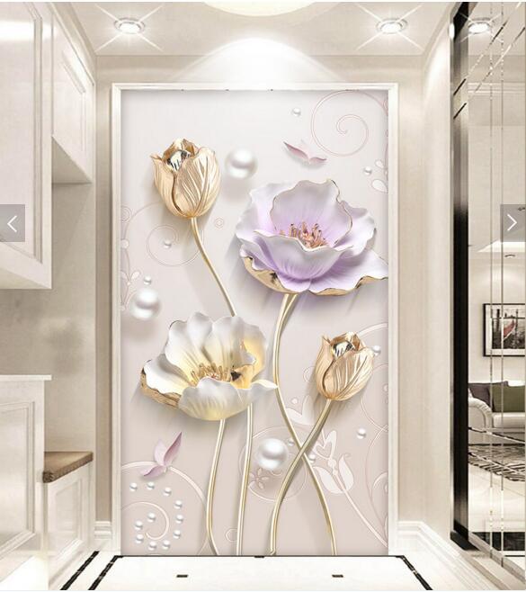 3D Floral Mural Pasillo Foto Papel De Pared Para Sala Papel Pintado Pared  Rollos Papel De Pared Decoración Del Hogar