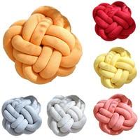 Handmade Woven Knot Ball Soft Knitting Pillows Soft Plush Solid Flower Design Throw Pillow with Pillow Core Office Car Seat