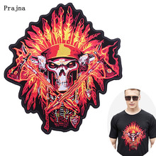 Prajna DIY Fire Skull Patch Large Back Embroidered for Clothing Hippie Sew-on Patches 3D Punk Rock Biker Applique Badges F