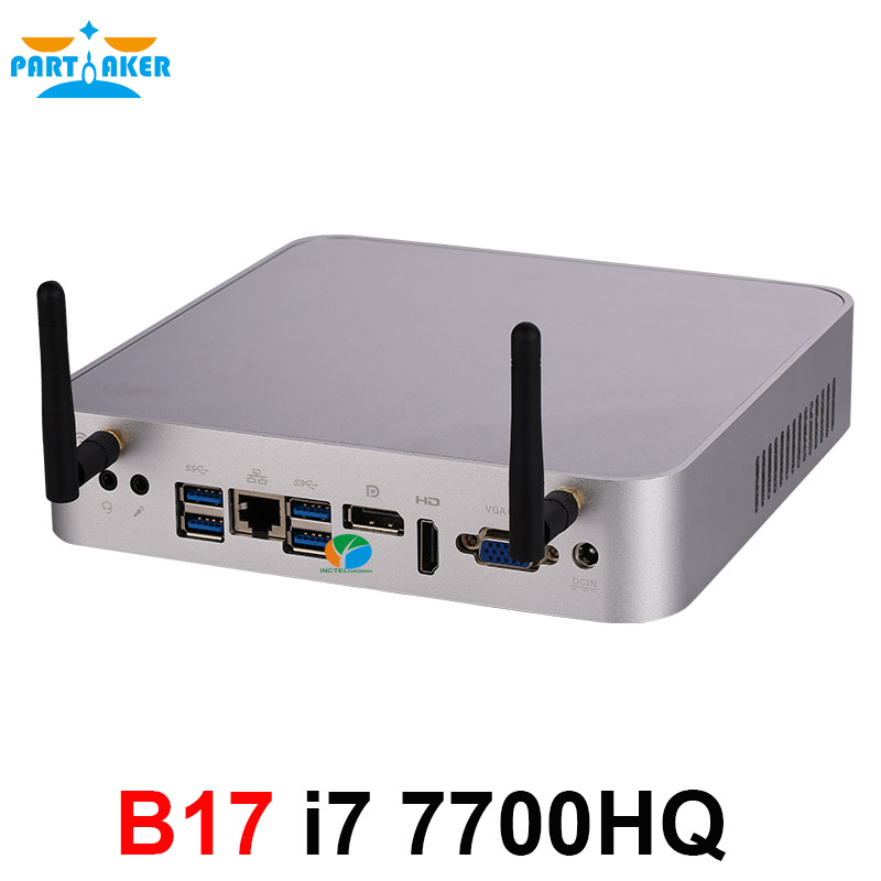 Partaker Mini PC Win 10 Intel Core I7 7700HQ DP VGA HDMI LAN 6*USB Micro Computer Linux DDR4 Max 32GB AC Wifi Mini Computer