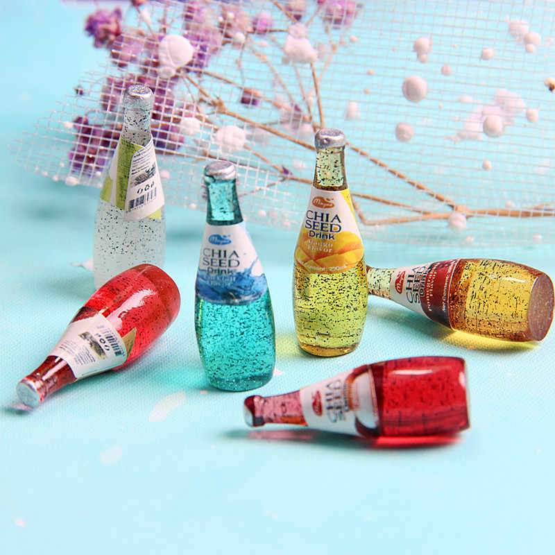 4pcs New slime filling material mini beer bottle diy handmade material resin beverage bottle juice bottle mucus filling jewelry