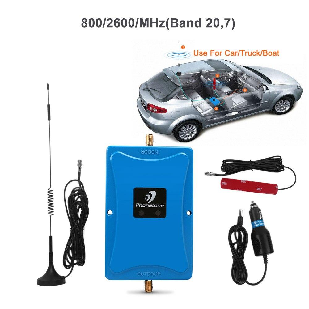Utilisation de la voiture Cellulaire Signal Booster 4G LTE Bande 20 Bande 7 800/2600 MHz Gain 45dB Communication Amplificateur données Répéteur pour Camion Bateau