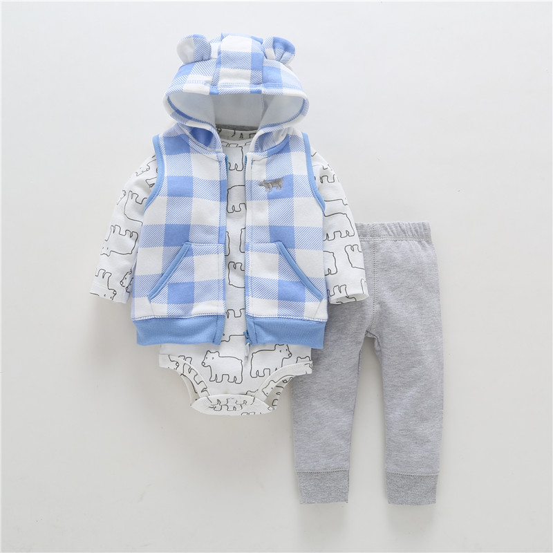 3 stycken Set Kläder Hooded Zipper Full Sleeve Öppna Nyfödda Baby Boy Girlsstitch Coat + Full-Sleeve Bodysuits + Blommiga Tryckbyxor