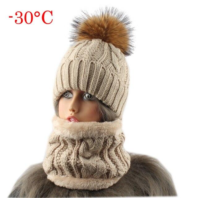 2018 sombreros de mujer con pañuelo de lana caliente dentro Beanie de invierno de las niñas tapa para las mujeres de piel de visón Real pompón sombrero gorros de punto