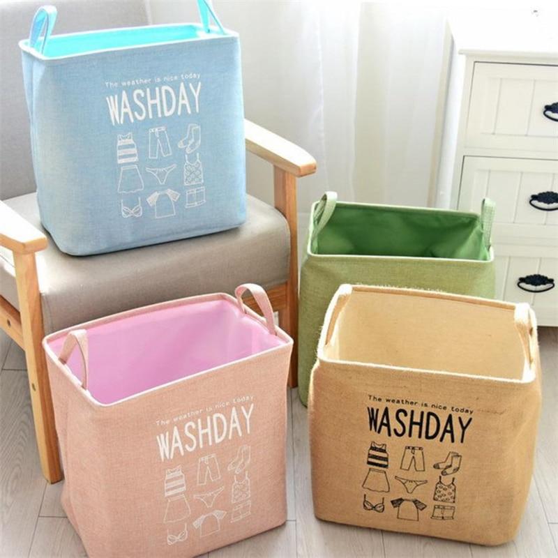 2018 Creative NewEco-Friendly Natural Juten Waterproof PE Coating Sundries Toy Basket Storage Folding Storage Box HOT C0227