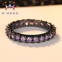 Black Ring with Amethyst Filled with Zircon Ring  Fashion Ring in Black Gold  Plated for Women