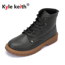 Kyle Keith Autumn And Winter Short plush Men Boot Shoes Waterproof Warm mens Leather Ankle Shoes Snow equestrian Boots