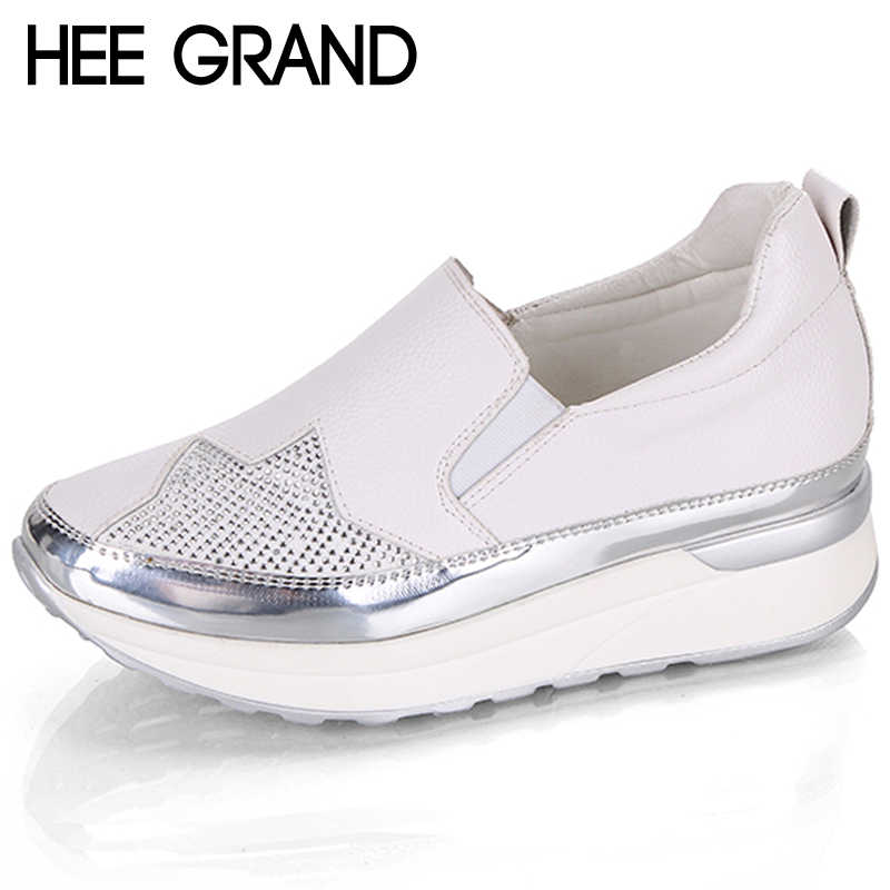 HEE GRAND Autumn 2018 Comfort Creepers Bling Loafers Silver Platform Shoes Woman Slip On Swing Women Flats Shoes XWD6800