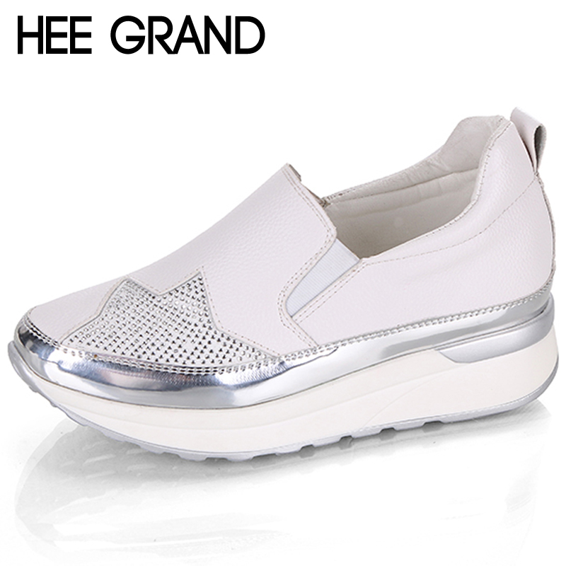 HEE GRAND Autumn 2018 Comfort Creepers Bling Loafers Silver Platform Shoes Woman Slip On Swing Women Flats Shoes XWD6800 hee grand flowers creepers pearl glitter flats shoes woman pink loafers comfort slip on casual women shoes size 35 43 xwc1112
