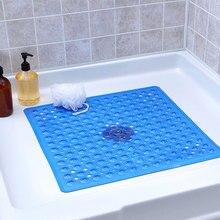 PVC Solid color Quick Drain Shower Mat kitchen Anti-slip Bath Carpet for Bathroom Non Slip Square Suction Cups
