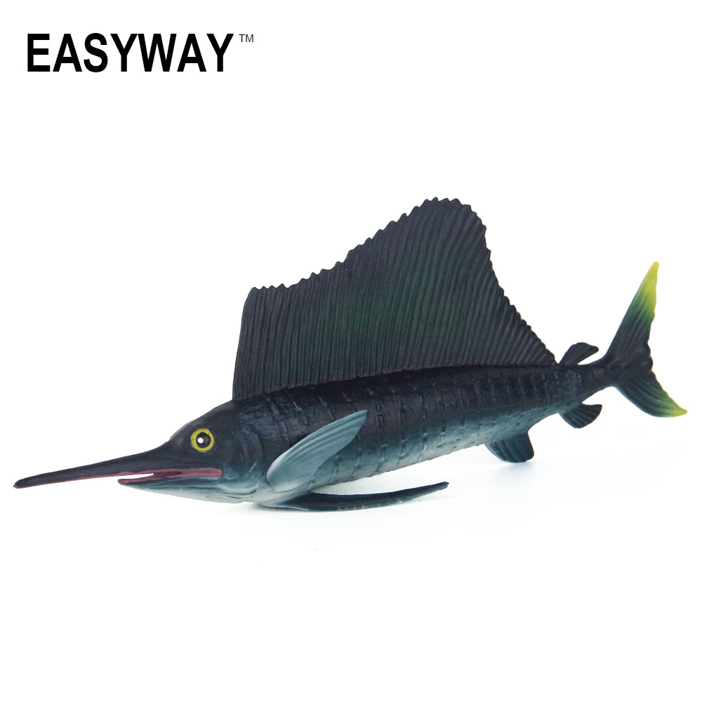 EASYWAY Original Sailfish Model Toy Sea Life Animals Toys for Children Gift Birthday Plastic Fish Models Action & Toy Figures mr froger carcharodon megalodon model giant tooth shark sphyrna aquatic creatures wild animals zoo modeling plastic sea lift toy