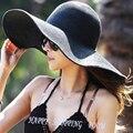 2015 moda verão de disquete chapéus de palha Casual viagens de férias de abas largas chapéus de sol dobrável praia chapéus para as mulheres com cabeças grandes