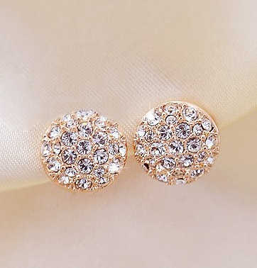 2014 New Style Korean Elegant Gorgeous Sparking Rhinestone  Zircon Round Stud Earrings E3261