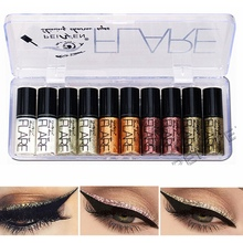 2019 10pcs Professional New Shiny Eye Liners Cosmetics Silver Rose Gold Color Liquid Glitter Pigment Eyeliner