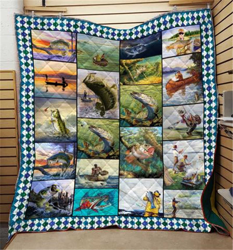 Summer 3D Fishing Quilt Blanket For Kids Adults Bedding Throw Soft Warm Thin Office Blanket  With Cotton Quilt King Size