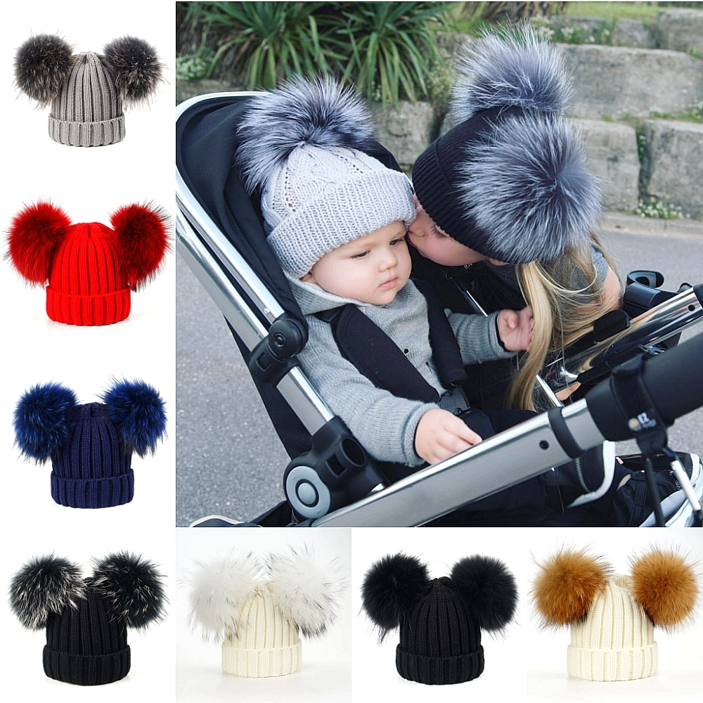 LAURASHOW Winter Real Fur Ball Beanie Hat For Women Kids Baby Fluffy Raccoon Fur Pom Poms Skullies Beanies new star spring cotton baby hat for 6 months 2 years with fluffy raccoon fox fur pom poms touca kids caps for boys and girls