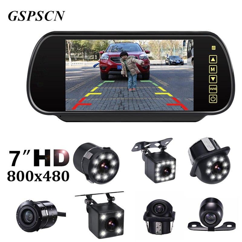 GSPSCN автомобиля 7 дюймов Зеркало мониторы полный сенсорный экран ЖК дисплей Мониторы Заднего вида со светодиодный ночное видение водонепрон...